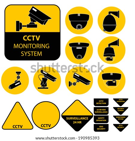 Video surveillance set vector illustration - stock vector