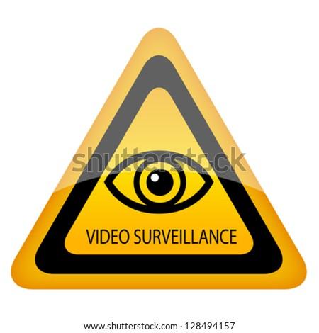 Video surveillance warning sign - stock vector