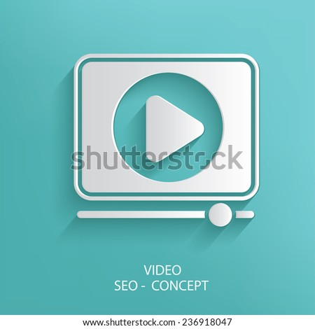 Video symbol on blue background,clean vector - stock vector