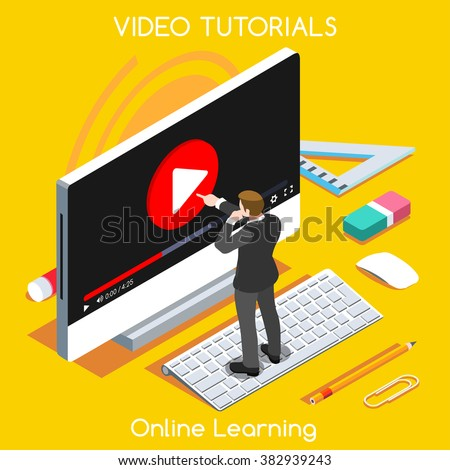 Video training isometric concept. Study and learning banner remote education and knowledge growth. Webinar video conference internet services.3D Flat isometric People Set vector Computer Desktop image - stock vector
