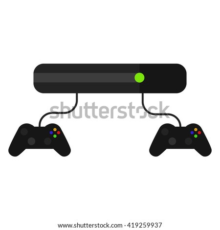 Videogame console with joysticks isolated on white. Vector game pad icon in flat style. - stock vector