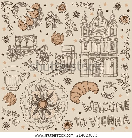 Vienna. Austria. background welcome to Vienna  - stock vector