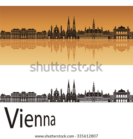 Vienna skyline in orange background in editable vector file - stock vector