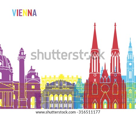 Vienna skyline pop in editable vector file - stock vector