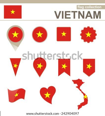 Vietnam Flag Collection, 12 versions - stock vector