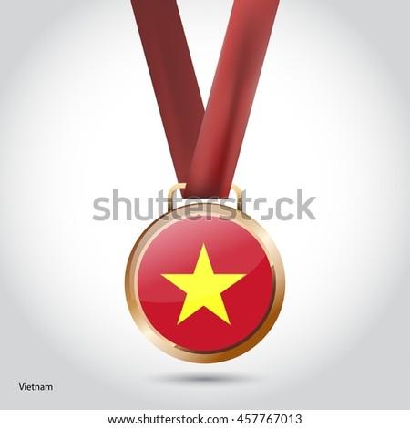 Vietnam Flag in Bronze Medal. Vector Illustration - stock vector