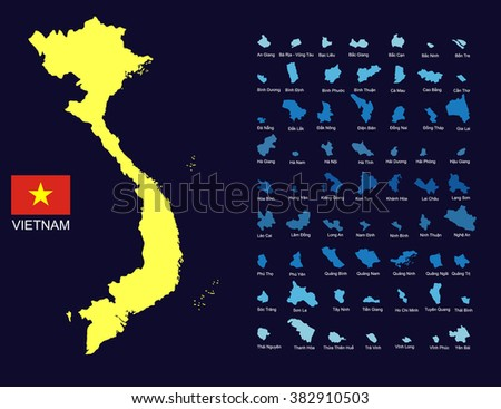 Vietnam map with the shape of 63 provinces - stock vector
