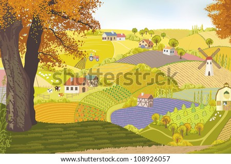 View from a hill on a farm in autumn - stock vector