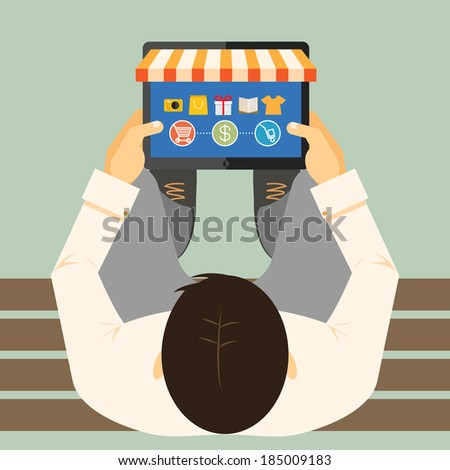 View from above of a man on a bench doing online shopping on a tablet computer with a store front and merchandise with a shopping cart  payment and delivery options  vector illustration - stock vector