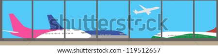View from the airport terminal - vector banner - stock vector