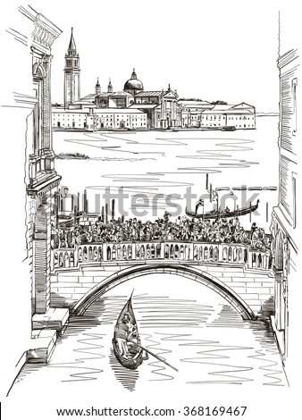 View from the Bridge of Sighs on San Giorgio Maggiore, Venice. Vector illustration. - stock vector
