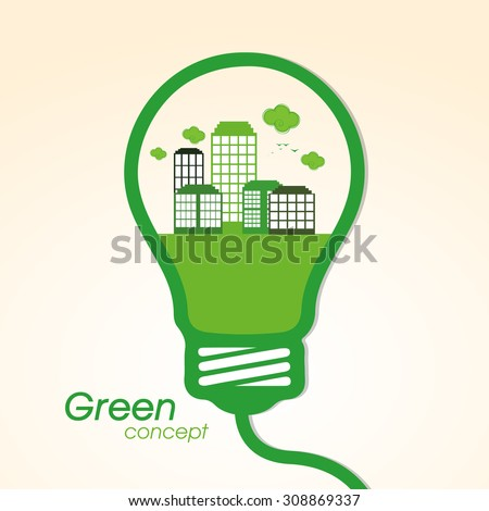 View of a green city in light bulb on shiny background for Save Nature on Go Green concept. - stock vector