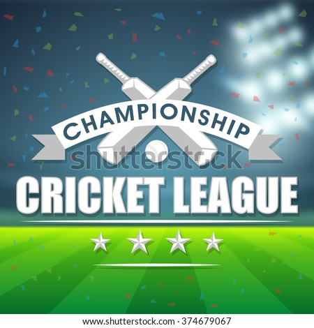View of a stadium in night with bats and ball for Cricket Championship League concept. - stock vector