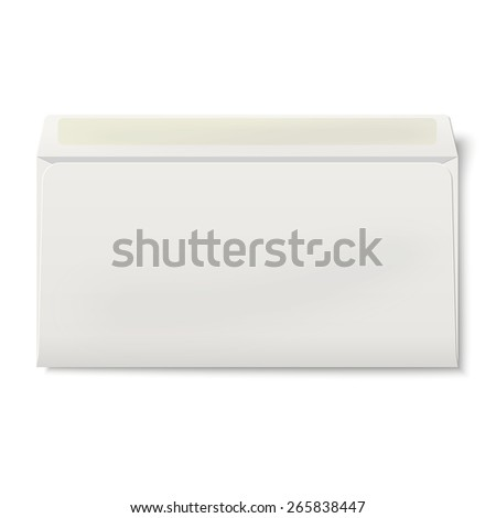 View of backside of opened DL envelope isolated on white background - stock vector