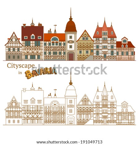 View of Bavarian Street and Typical German Houses - stock vector