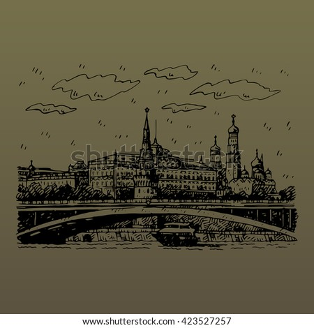 View of Bolshoy Kamenny Bridge on Moskva River and Kremlin in Moscow, Russia. Sketch by hand. Vector illustration. Engraving style - stock vector