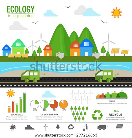 View of green urban city with various statistical infographic charts and graphs for Ecology concept. - stock vector
