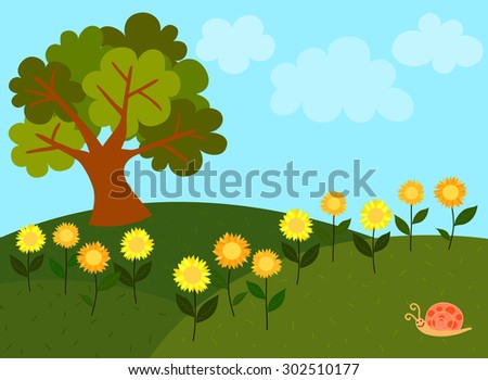 View of light blue sky with white clouds and green hills full of sunflowers along with a big tree and a cute snail on the grass. - stock vector