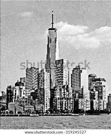View of New York City from the Hudson River. Halftone - stock vector
