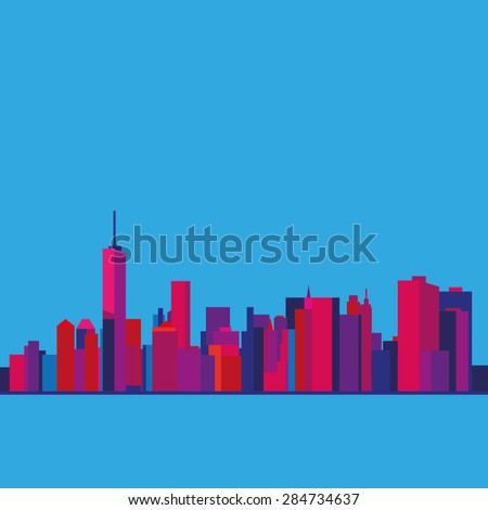 View of New York from the Upper bay. Sunset. Manhattan - stock vector