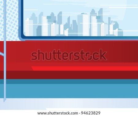 View of Skyline from train window - stock vector