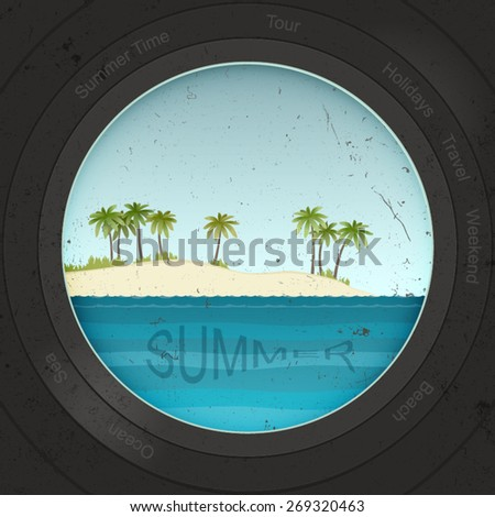 View of the beach with binoculars or a porthole. Summer background - stock vector
