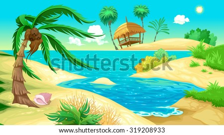 View on the beach. Vector illustration - stock vector