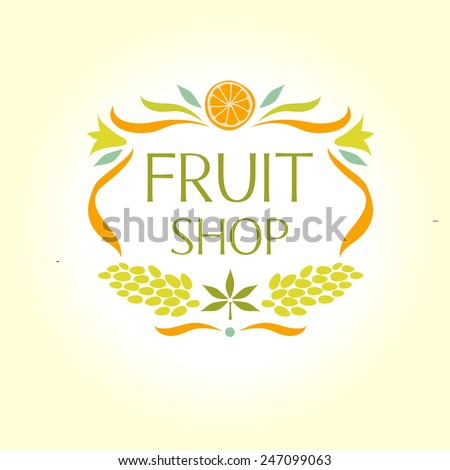 Vignette logo for Fruit Shop. Logo packing for juice. - stock vector