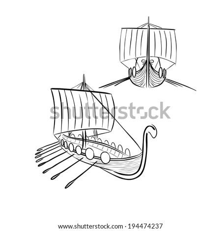 Viking boat 3 - stock vector