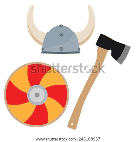 Viking hat, shield and axe vector isolated, viking weapon - stock vector