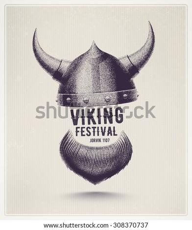 Viking helmet and beard, Jorvik viking festival, eps 10 - stock vector