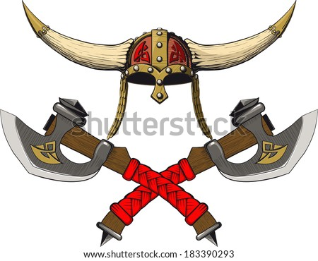 Viking horned helmet emblem with two crossed axes - stock vector