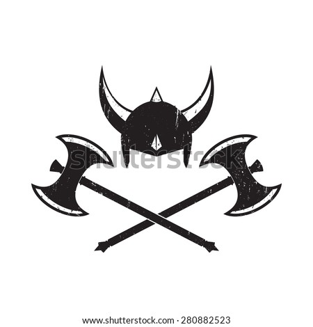 Viking's Helmet and crossed battle axes, vector illustration, eps10, easy to edit - stock vector
