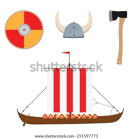Viking set with helmet, axe, drakkar ship and shield vector icon isolated, scandinavian - stock vector