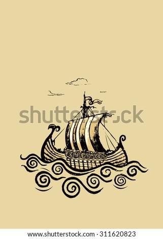 Viking ship.Pencil drawing illustration.horizontal banner design - stock vector