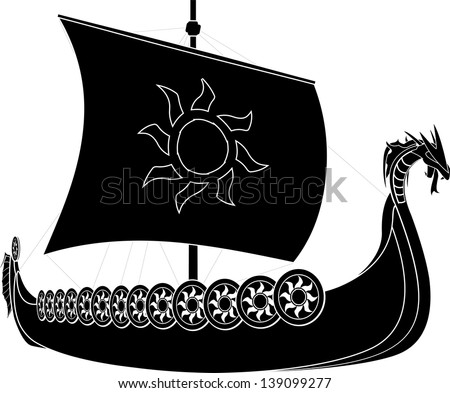 viking ship. stencil. second variant - stock vector