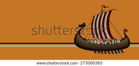 Viking ship vector illustration - stock vector