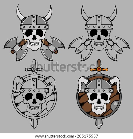 Viking Skull Mascot - stock vector