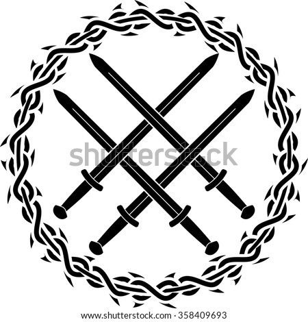 viking symbol with swords. second variant. vector illustration - stock vector
