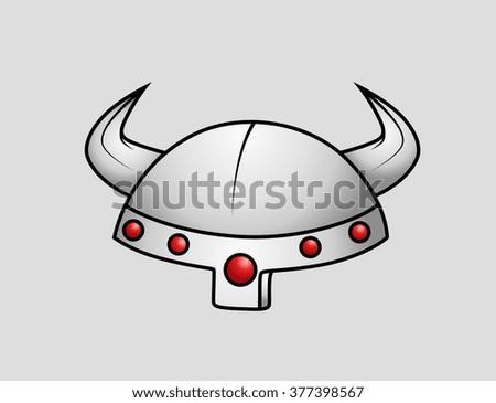 Viking Warrior Helmet - stock vector
