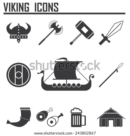 Vikings and Scandinavian items, the food, weapons flat icon set  - stock vector