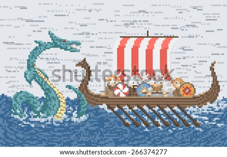 Vikings Battle With The Sea Dragon, Illustration In Pixel Art Style - stock vector
