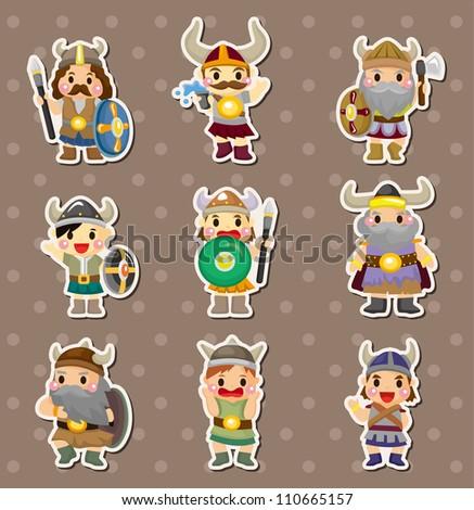 Vikings people stickers - stock vector