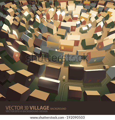 village background - stock vector