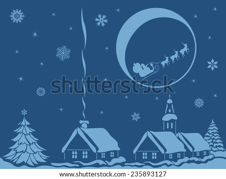 Village in calm Christmas night with Santa Claus and reindeer on Moon background, hand drawing vector bicolor illustration - stock vector