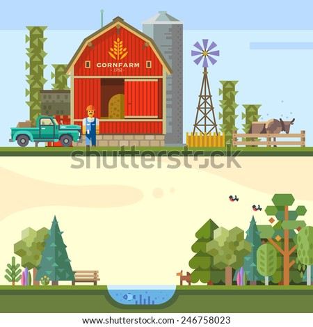 Village landscape. Farm, hay, lake, forest, field. Farmer, cow, car. Vector flat illustration - stock vector