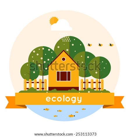 Village landscape with garden and lake. Human and environment. Spring. Ecology clean air. Flat design vector illustration. Isolated label. - stock vector