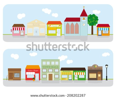 Village Main Street Neighborhood. Vector Illustration of small town main street with shops, church, bar and public buildings. All objects are grouped, text on separate layer. Flat design, no gradients - stock vector