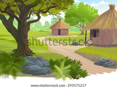 Village scene - stock vector