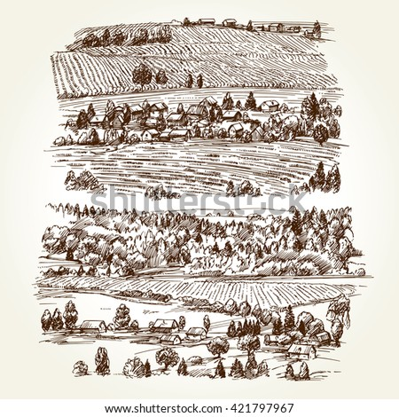 Vineyard. Agricultural landscape. Hand drawn collection. - stock vector